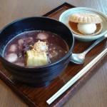 神楽坂茶寮 東京ドーム店『芋餅のあったか汁粉と最中アイス』